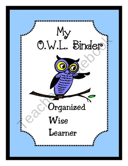 Free Owl Binder Cover in Blue (Choice of Two) from Second Grade Smarties on TeachersNotebook.com (2 pages)  - Set of Two Free Owl Binder Covers for your students organizational binders.  The Acronym OWL stands for either, Organized While Learning, or Organized Wise Learners.