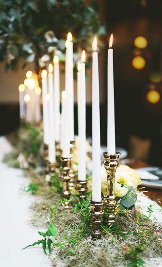 Centerpiece Idea- Vintage/Thrift Shop Candlesticks with Moss and Greenery