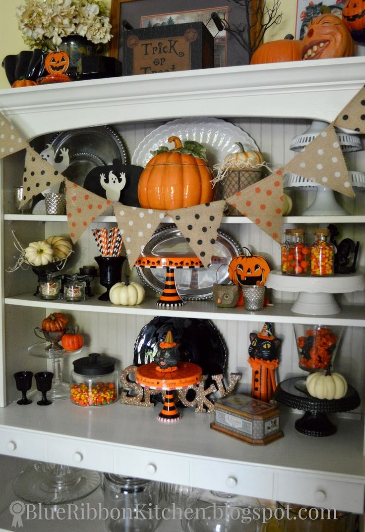 blue ribbon kitchen halloween hutch halloween fall decor decorating ideas orange and black - Halloween Kitchen Decor