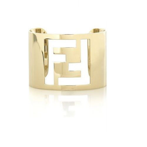 NEW ARRIVAL - Fendi Authentic Metal Yellow Gold Logo Cuff - IMPOSSIBLE TO FIND Buy online at MODELUNA http://www.modeluna.com/product/fendi-logo-cuff-bracelet-yellw-gold-color