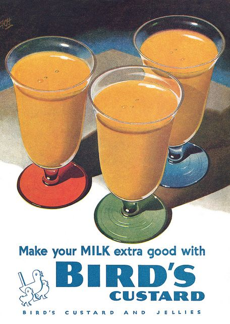Make your milk extra good with Bird's Custard (yes, please!). vintage ad food 1950s custard