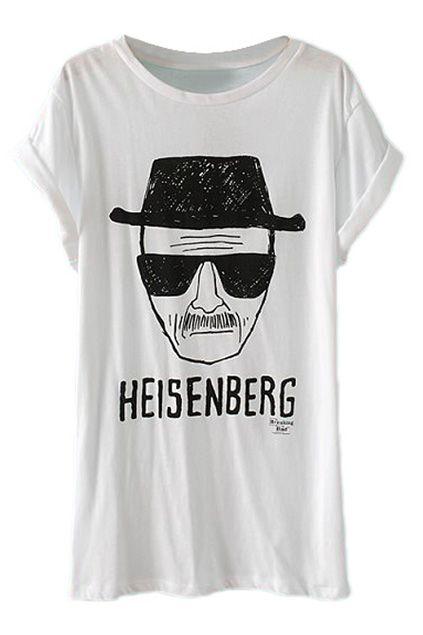 ROMWE | ROMWE Cool Man Head Print White T-shirt, The Latest Street Fashion