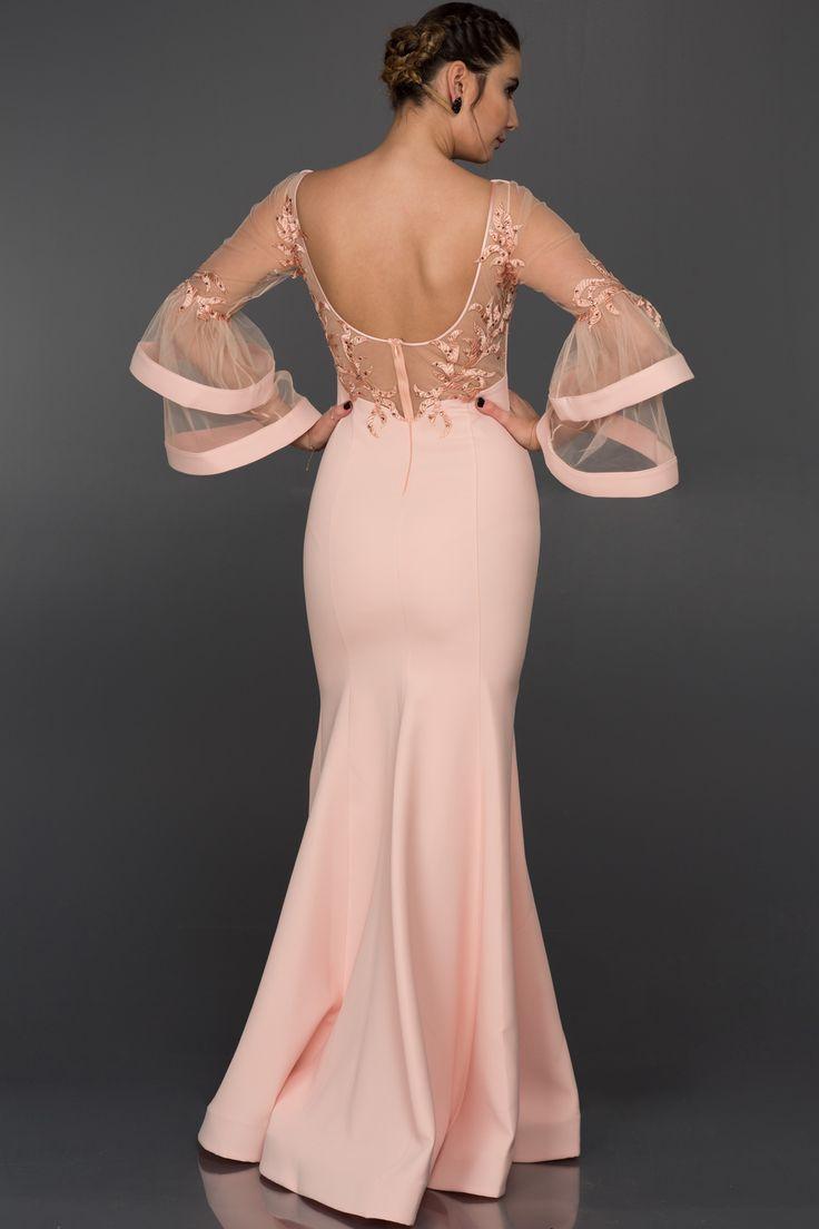 Uzun Somon Volanlı Balık Elbise ALY7405 | Abiyefon.com
