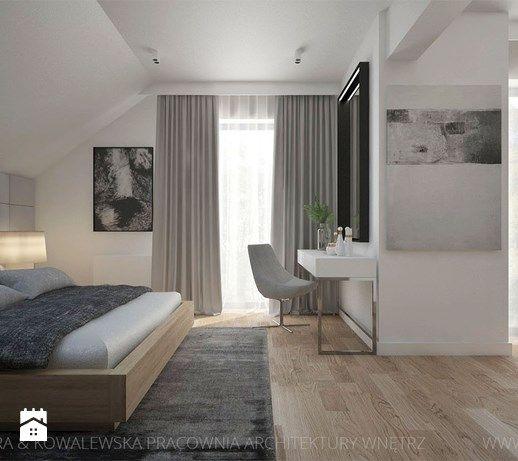 DOM Z DREWNEM I BETONEM - Sypialnia, styl nowoczesny - zdjęcie od TK Architekci