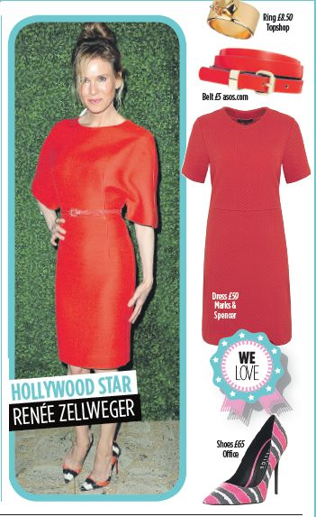 Renee Zellweger- bold primary colour dress. Get this look @topshop @asos @marksandspencer @officeshoes1