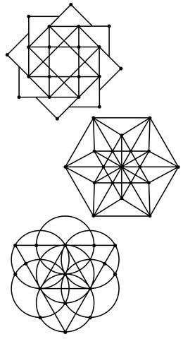 Sacred Geometry 3 Wall Decals Metallic Gold, Silver, Black