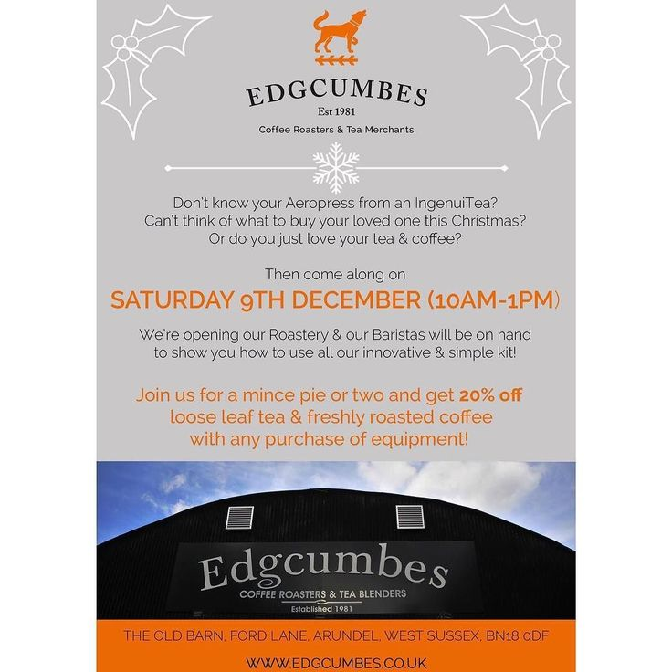 Dont forget to join us THIS SATURDAY! Mulled wine and mince pies and demonstrations on how to use our innovative and simple brewing kit! See you there - 10am-1pm! #openmorning #brewing #howtobrew #coffeeroasters #teablenders #edgcumbes #edgcumbescoffee #edgcumbescoffeeandtea #specialitycoffee #caffeineaddict #caffeinefix #tealovers #coffeelovers