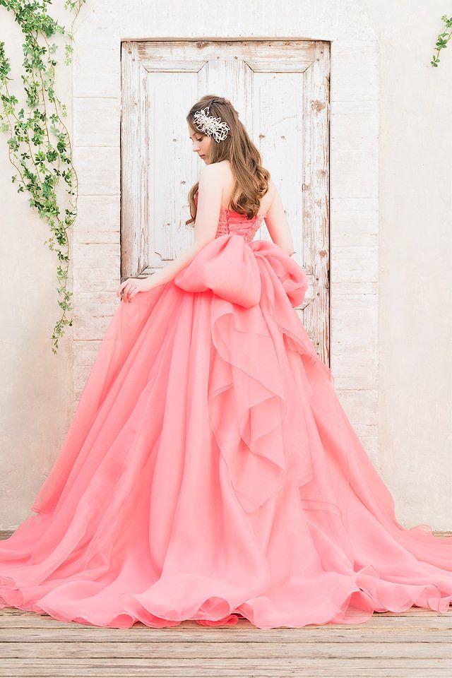 華やかなニュアンスピンクの大人のカラードレス SS9590CPV