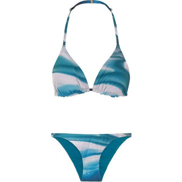 Orlebar Brown Ipanema and Barletta printed triangle bikini (5,665 THB) ❤ liked on Polyvore featuring swimwear, bikinis, petrol, bikini swimwear, orlebar brown, bikini two piece, triangular swimwear and triangle bikini