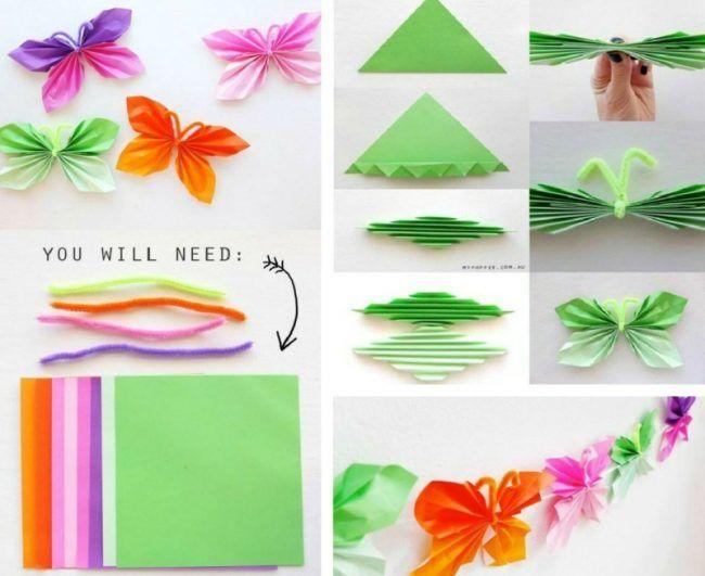 Deko im kinderzimmer origami anleitung schmetterling for Origami zimmer deko