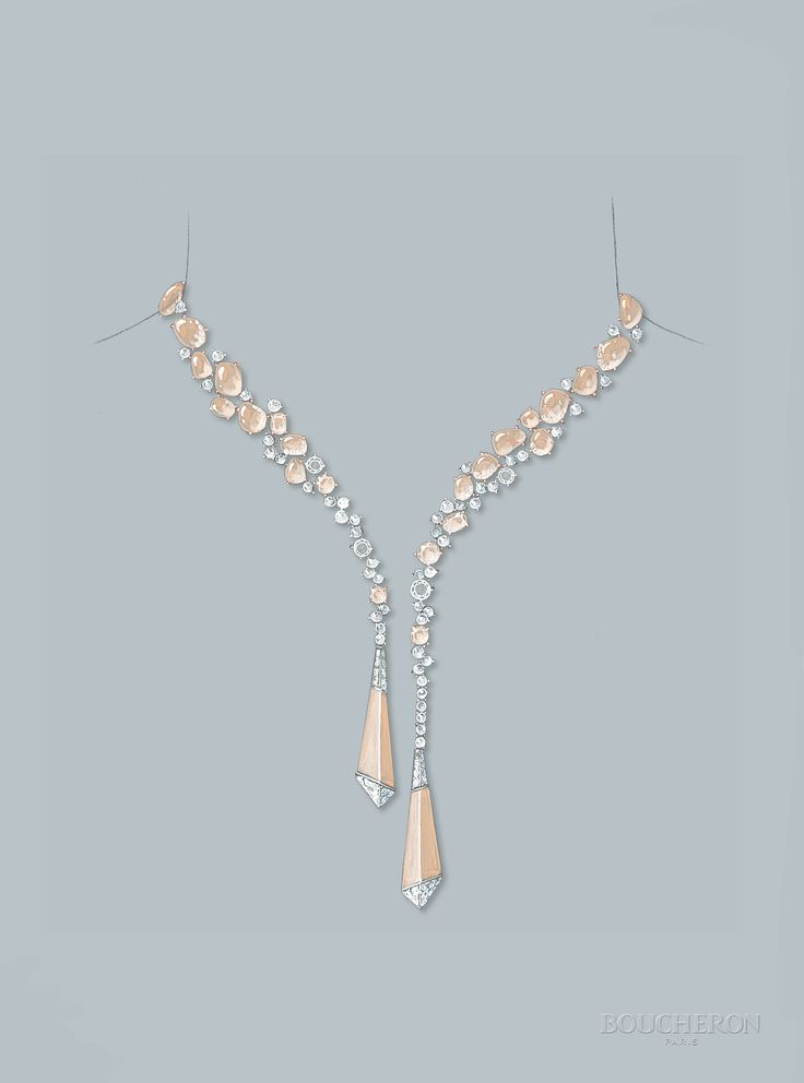 Halo Delilah necklace - Drawing #HoteldelaLumiere #HighJewelry #Boucheron