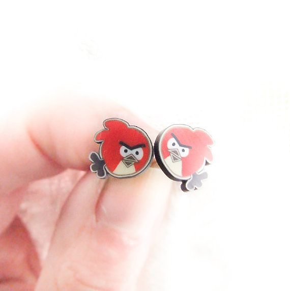 Red Angry Birds Studs Cute Birds Earrings by LePetitParadisPerdu