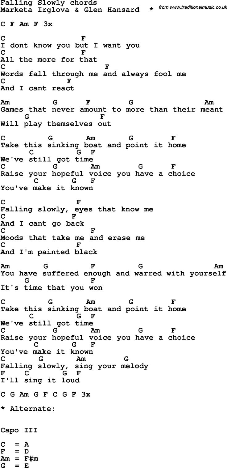 Song Lyrics with guitar chords for Falling Slowly