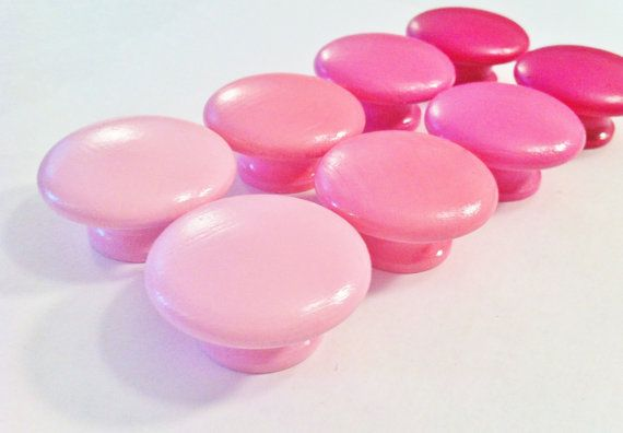 Pink Dresser Knobs -  Choose from Petal Pink, Bubblegum Pink, Carousel Pink and Raspberry Pink on Etsy, $2.95 CAD