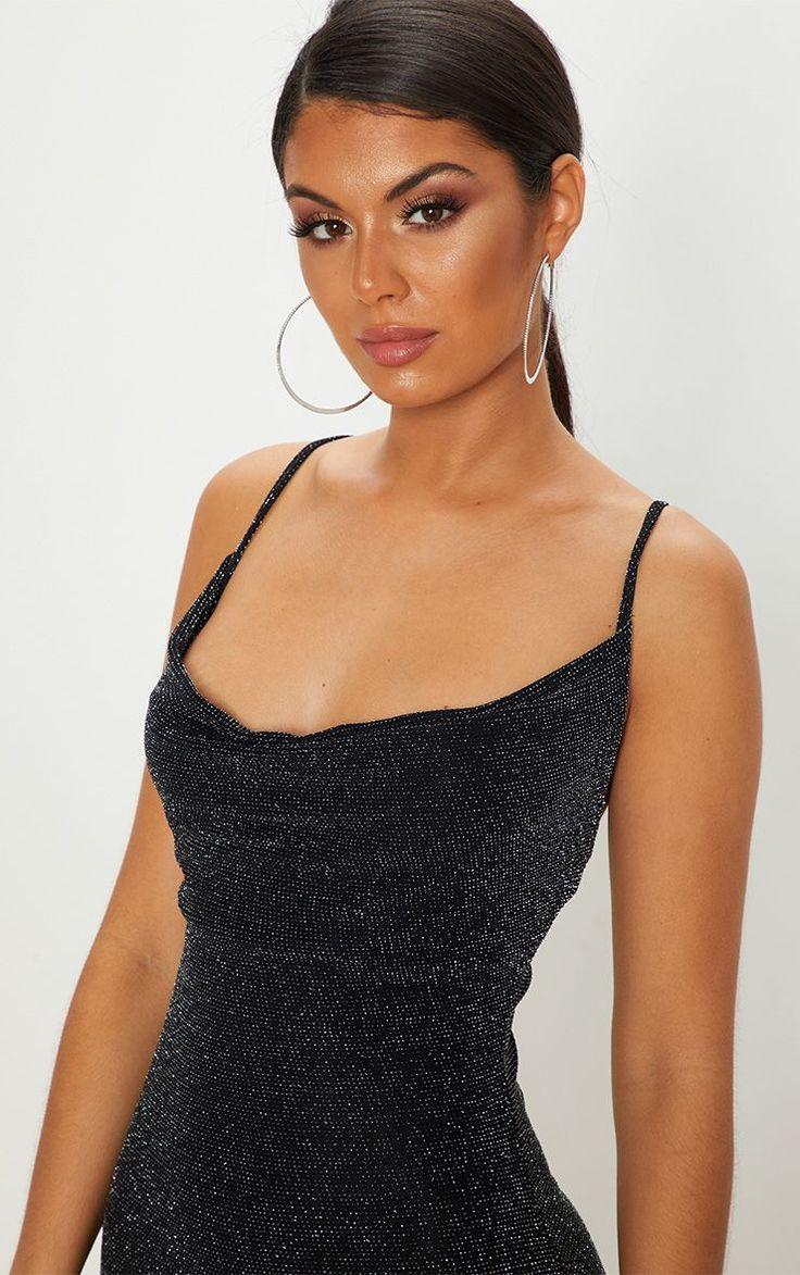 Black textured glitter cowl neck bodycon dress job clothes