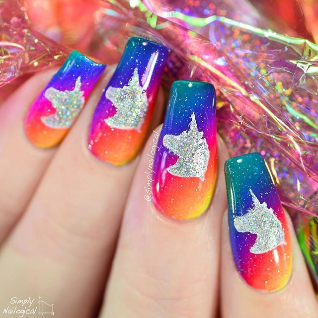 Two nail art videos in a row?! I'll use holo in my next video if I need help  NEW VIDEOlink in bio it's rainbows and unicorns and hl and s what could possibly be more simplynailogical idk