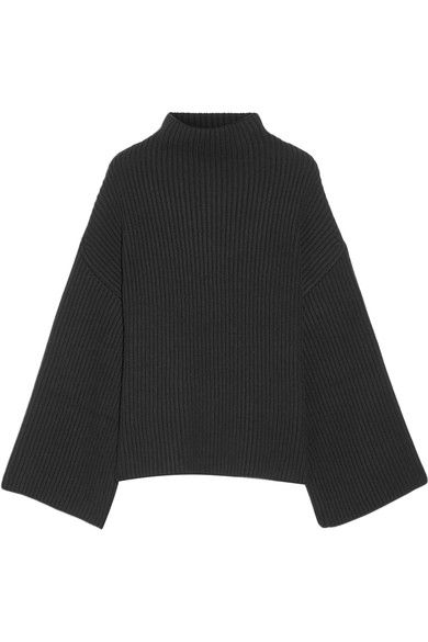 Rosetta Getty - Asymmetric Ribbed Wool And Cashmere-blend Turtleneck Sweater - Black - medium