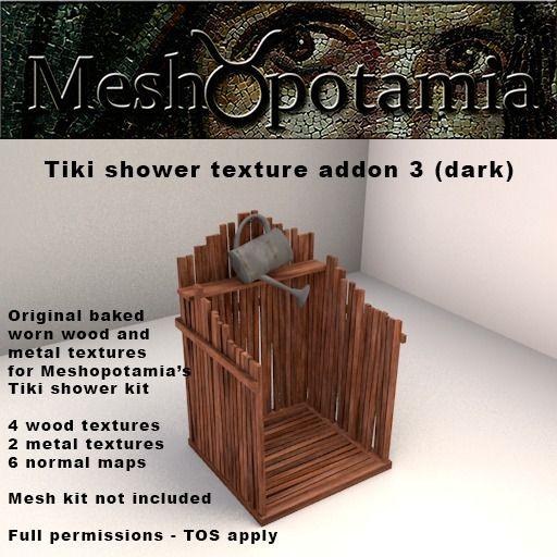 Meshopotamia Tiki shower texture addon 3 (dark)