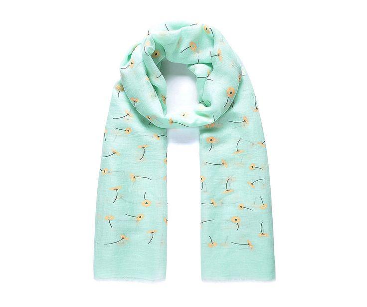 Green/cream daisy flocked scarf