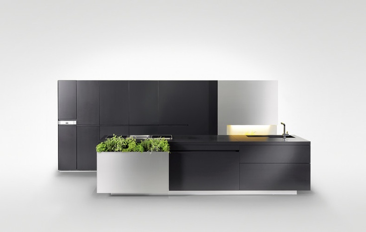 The 'Toni Morwald' herbal kitchen by Steininger Designers.  The herbs container is a narrow part on the end of the counter, and swings open to storage space.  Nice