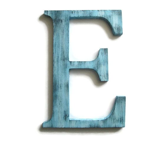 Decorative Letter E hand painted wood in light blue with ...