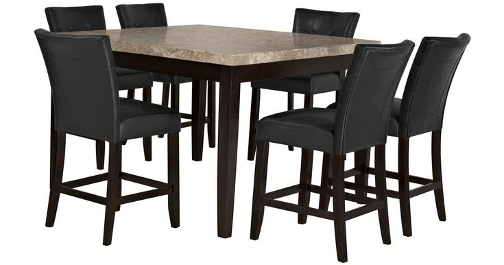 Found this great product at cityfurniture.com, for only $699.95.  Dining set includes: High dining table and four barstools    Whether for a formal dinner or a casual lunch, you can bring a stunning richness to your home with the Monark high dining table set. The white marble top contrasts dramatically with the black upholstered barstools to bring your dining space a contemporary look that demands attention.