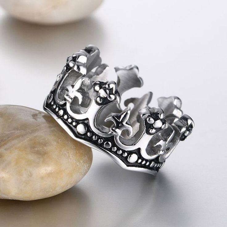 Vnox Men's Rings Black Royal King Crown Knight Fleur De Lis Cross Vintage Rings for Men Jewelry -in Rings from Jewelry