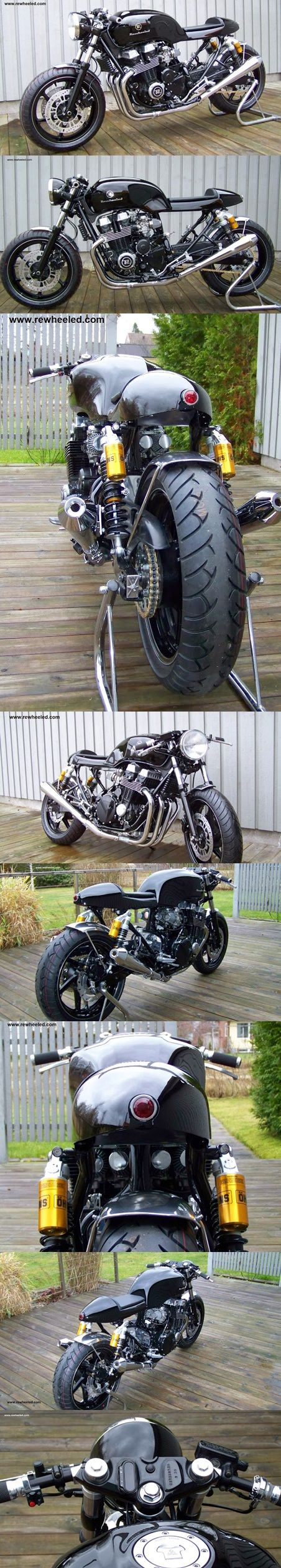 ....Caferacer based on a 2003 Honda CB 750 Sevenfifty. With brand new NOS engine, motogadget meter, Öhlins rear shocks, black leather seatpadding, alu fenders, RAASK rearsets, Rewheeled seat.