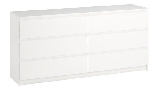 Byrå TRANBJERG 3+3 lådor vit | JYSK