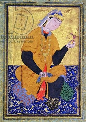 Persian Painting 16th Century | Portrait of Hamida Banu Begum, holding a seal, illustrated folio from ...