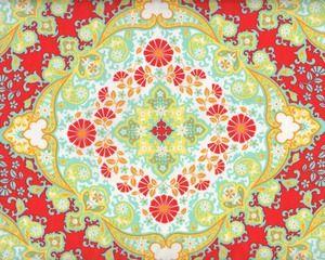 Zarter, edler Batist, Voile 'Notting Hill' mit großen Blüten-Medaillons, rot-pastellgelb