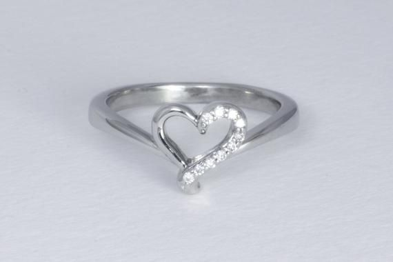Vintage 10k White Gold Diamond Heart Ring Asymmetrical Design Ladies Romantic Promise Ring Diamond Heart Ring Diamond Heart White Gold Diamonds
