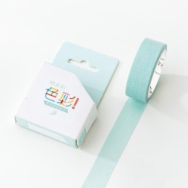 Faded Teal Solid Color Washi Tape 15mmx7m