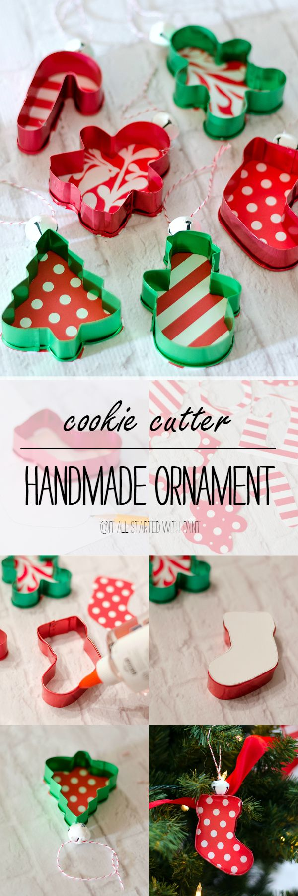 Handmade Ornament Ideas: Cookie Cutter Christmas Tree Ornament Idea using Craft Paper