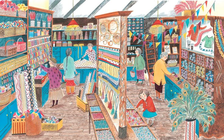Emily Sutton's 'Haberdashery shop' illustration from 'Clara Button and the Wedding Day Surprise' by Amy de la Haye