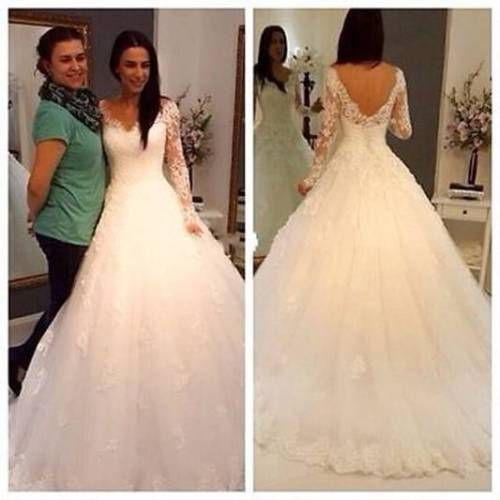 Hot Lace Long Sleeve V-Neck Wedding Dresses Formal Bridal Ball Gowns Custom Made