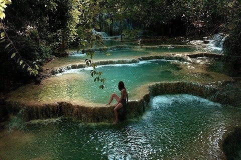 the Waterfall pools in Erawan National Park, Kanchanaburi, Thailand