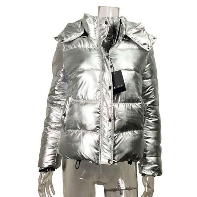 Hot Deals $30.99, Buy Women winter Bomber jackets Short warm Cotton padded coat Silver metal color ladies parka zipper hooded down jacket Outwear 2016