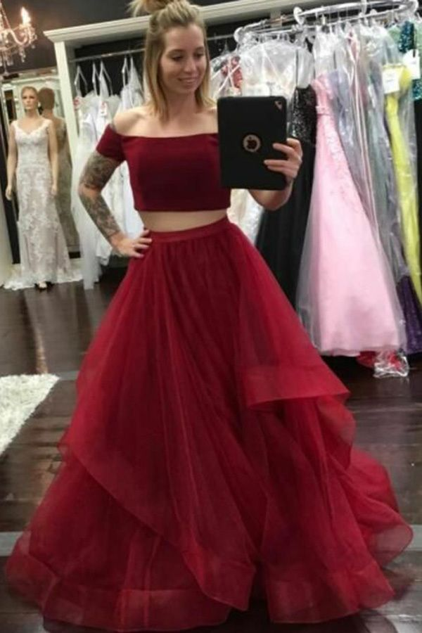 e52135dd1d Two Piece Off-the-Shoulder Floor-Length Dark Red Tulle Sleeveless Prom Dress  with Ruffles ...