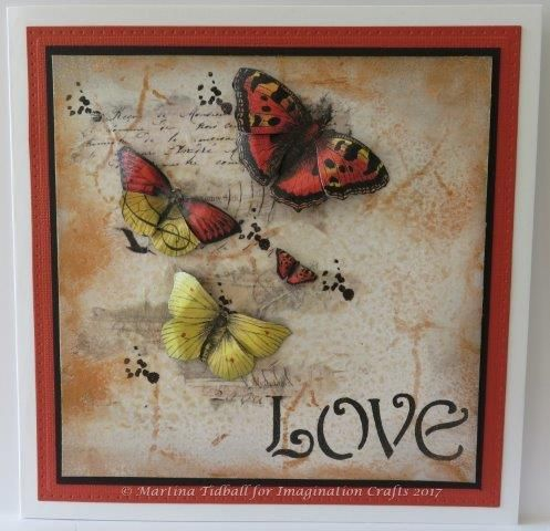 Handmade card by Martina Tidball for Hochanda ODS June 2017. Imagination Crafts' Rice Papers.