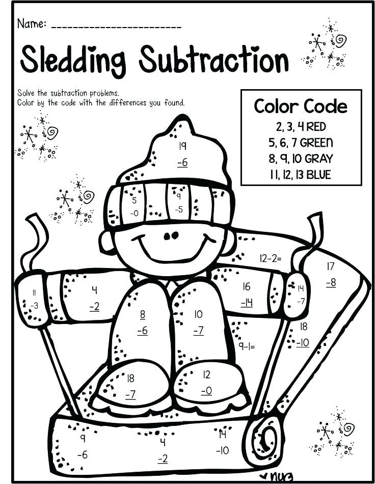 Color By Number Subtraction Grade Free Coloring Pages Addition Color By Number Addition And Subtraction Sec Winter Math Worksheets Math Pages Second Grade Math