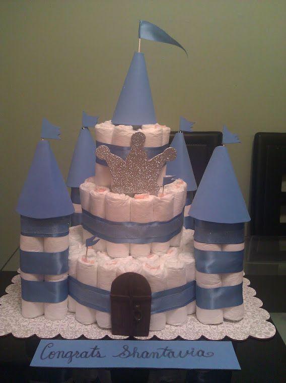 columns for diaper castle   Diaper Castle Cake for a Prince I made
