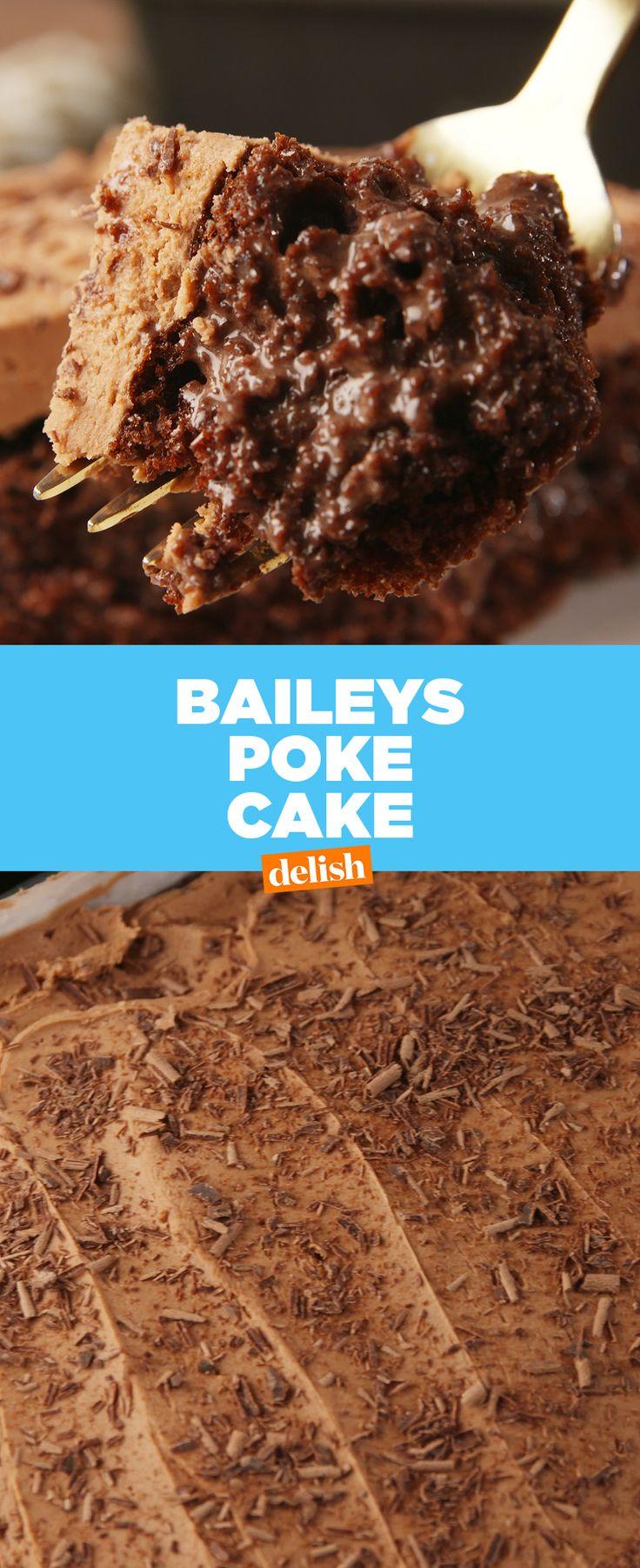 Baileys fans: this boozy poke cake is a dream come true. Get the recipe at Delish.com. #baileys #irishcream #alcohol #liquer #chocolate #poke #pokecake #cake #baking #dessert #recipe #easyrecipe #delish