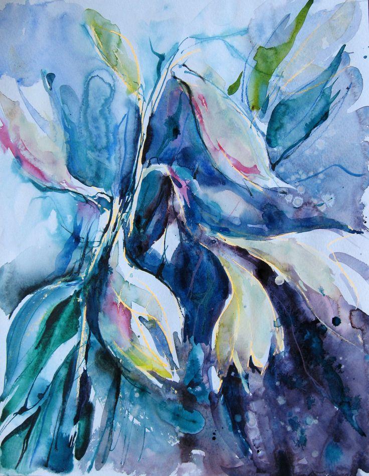 Olga Vinnitskaya. Weiße Lilien, Aquarell mit Tinte + Tusche + Neon Stiften.