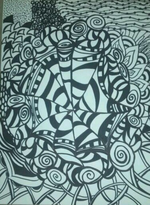My first zentangle with black Sharpie.