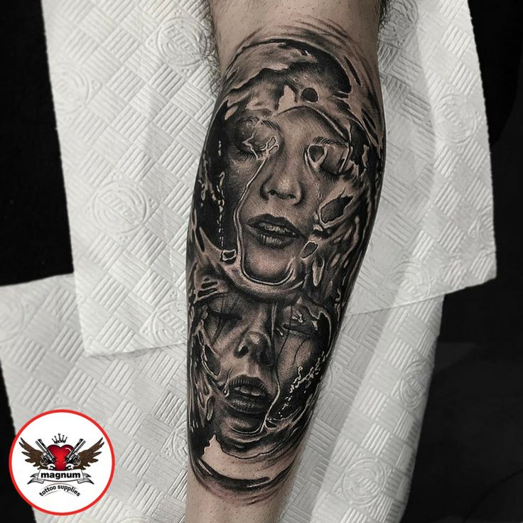 Black and grey piece done by Scott Edward using #magnumtattoosupplies