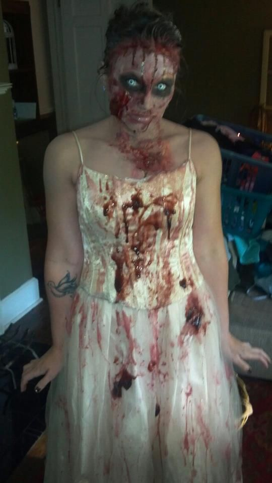 Recreate Angela's zombie prom queen look with gory blood makeup, white manson lenses and a long dress! #zombiepromqueen #zombiemakeup #zombiecostume