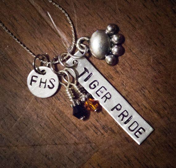 School Spirit Stamped Metal Necklace on Etsy, $15.00