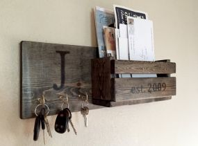 Rustic Monogram Mail and Key Holder in Ebony, Letter and Key Organizer, Personalized Wedding Gift