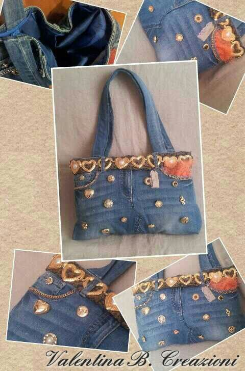 #upycling #jeans, old #buttons and chains for a #bag